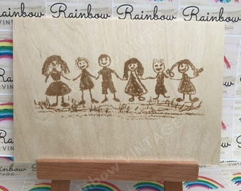 Your Child's Drawing - Personalised Wooden Present - A5