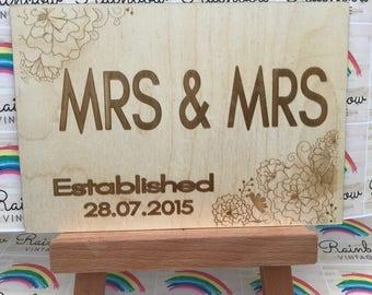 Mrs & Mrs - Wedding Celebration - Wooden A5 Sign/Plaque