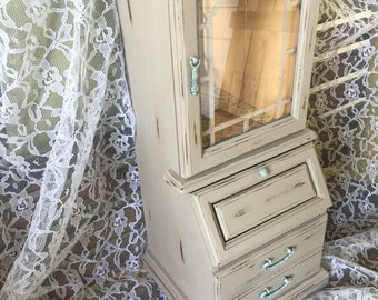 "Vintage Jewelry Armoire Handpainted & Distressed Wooden Mint Greige Gray 18"" tall"