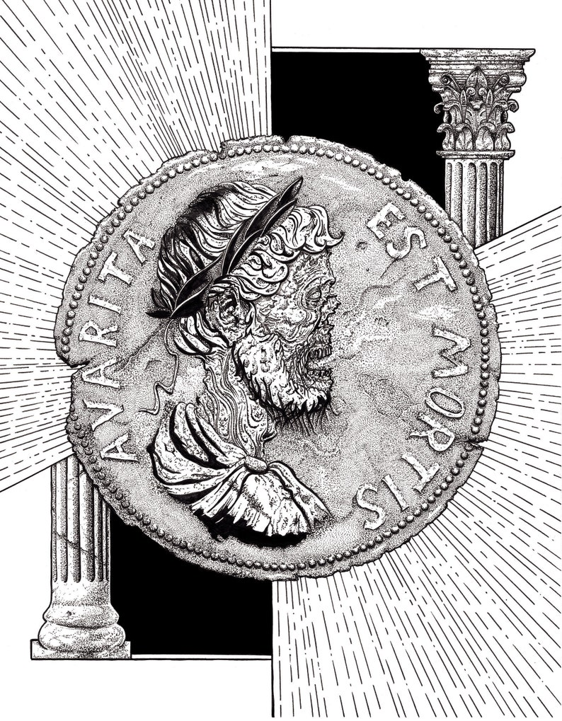 Greed Is Death art print, roman coin, ancient history, roman empire, poster  art, emperor hadrian, black and white, esoteric, coin art