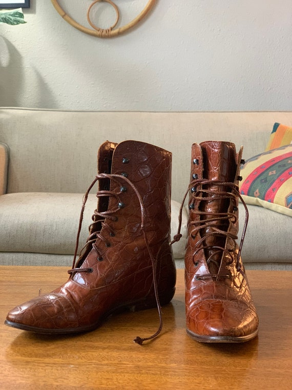 Vintage Crocodile Leather Joan & David Boots - wes