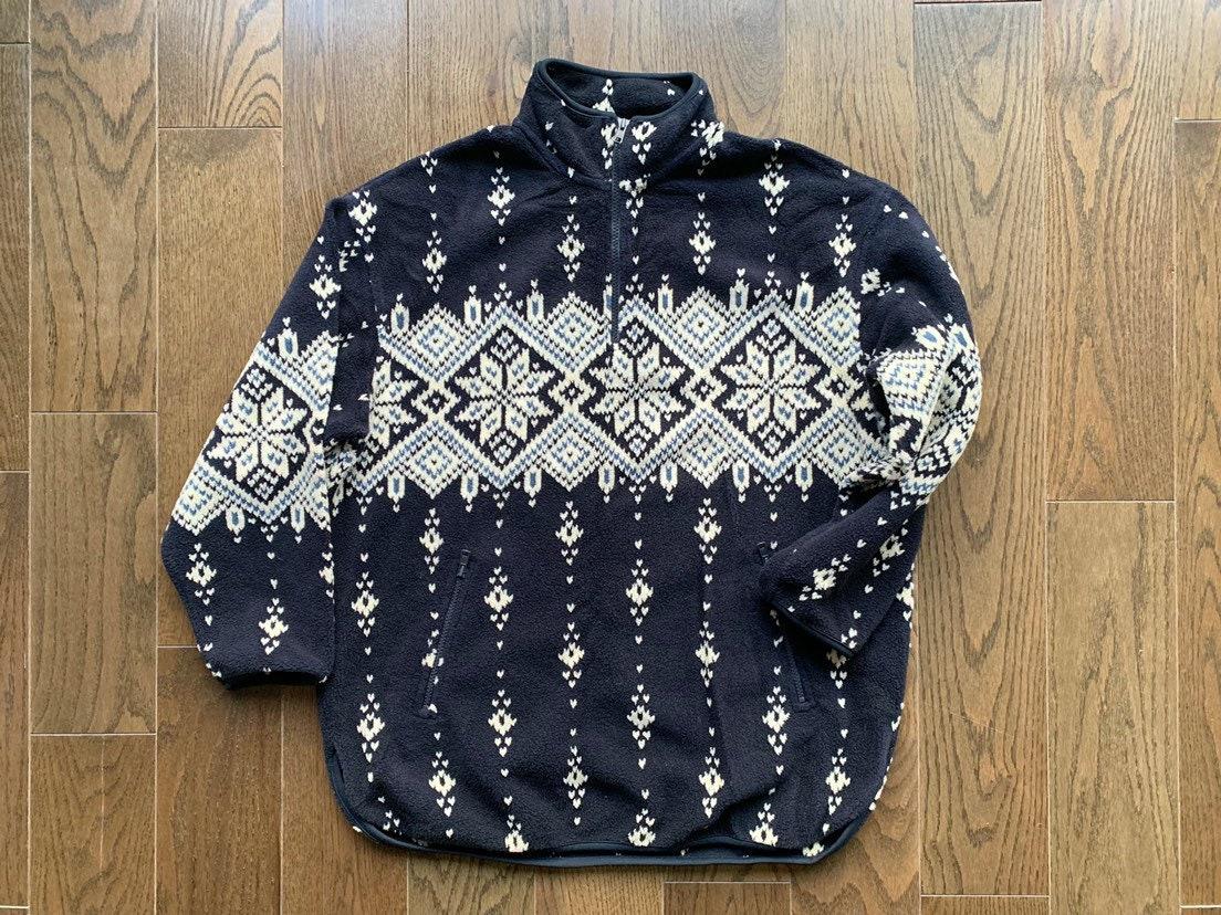 e1f4ea31c Vintage Eddie Bauer Fleece, sz M. Navy blue snowflake print pullover jacket  quarter zip with pockets, funnel neck, stand up collar.