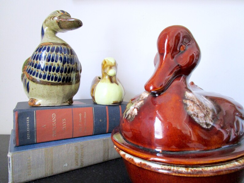 Mexican folk art cobalt blue speckled South American decor. green Vintage Tonala Duck Pottery tan ceramic bird Hand painted