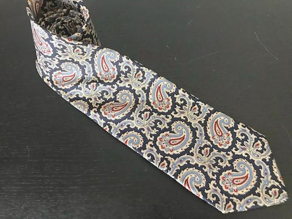 Brooks Brothers Paisley Tie. Vintage dark blue sil