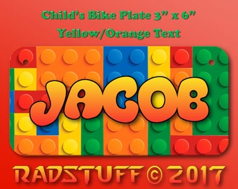 "Lego Child's Customized Bike License Plate 3""x 6"" with Custom Text Color Aluminum New"