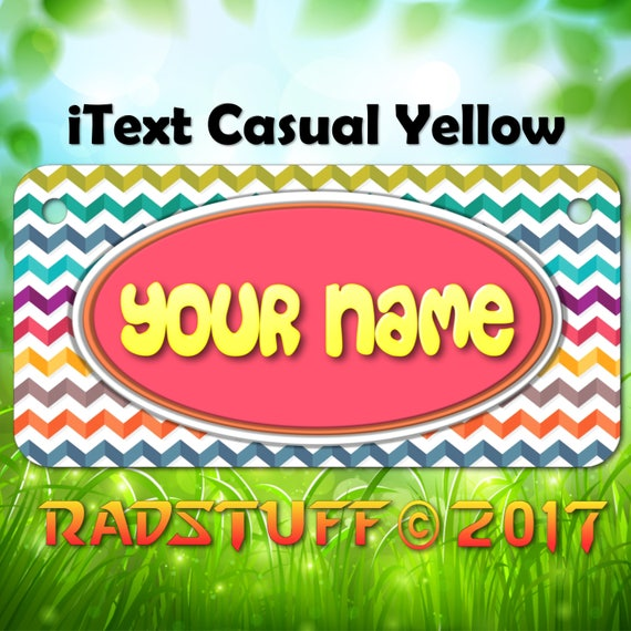 MULTI-COLOR CHEVRON CUSTOM ANY  NAME or TEXT Child/'s Bicycle Bike License Plate