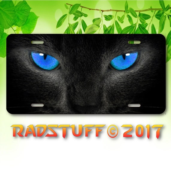 Black Panther with Green Eyes Vanity Aluminum License Plate Tag