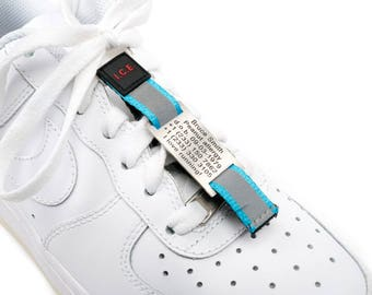 Shoe ID nametag, Engraved Alert tag attached to your shoe