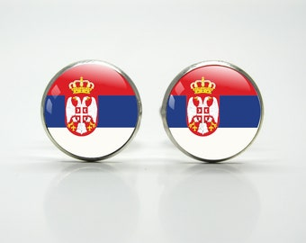 Blue /& White Serbia Flag Cufflinks With Gift Pouch Serbian Country Flags Red