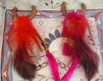 ETHNIC FEATHER, SILK, SUEDE AND METAL EARRINGS