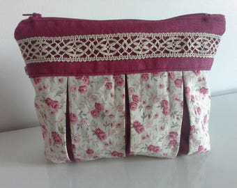 Pouch/bag, clutch bag raspberry and liberty linen