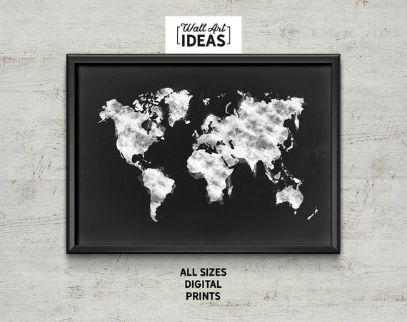 Artistic world map poster print inspiring travel black etsy image 0 gumiabroncs Choice Image