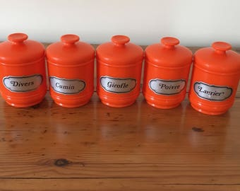 Vintage spice jars orange emsa 1970