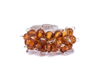 Silver Ring with Little Amber Stones Adjustable