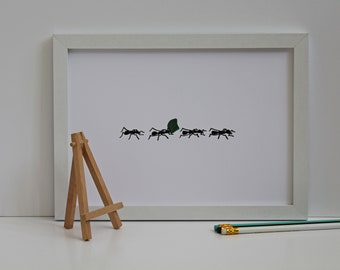 Ants in Line Wall Art Print Painting with Frame