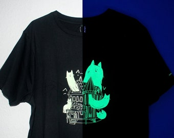 Glow in the dark Haunted House t-shirt, Hand pulled screen print of a villa haunted by cat ghosts on heavy weight black organic cotton shirt