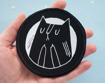 Cat Patch   Screen Printed Patch, Patch for Jacket, Round Patch, Fuck You Patch, Iron On Patch, Middle Finger Cat, Animal Patch, Black Cat