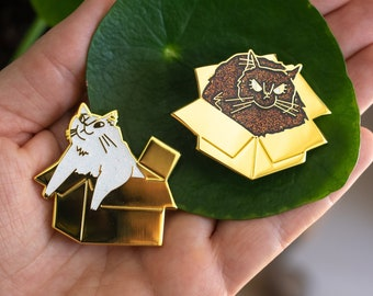 SECONDS SALE: White & black glitter cat Enamel Pin Set   Happy and grumpy cat, Gold plated pin, Lapel pin, Lapel Badge, cat lover gift