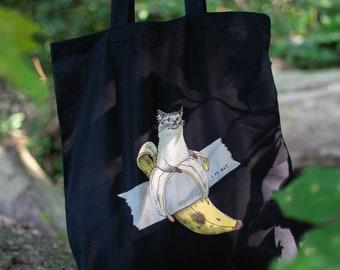 Banana Art Cat   Cat Tote Bag, Organic Cotton Bag, Tote Bag, Reusable Tote Bag, Animal Tote, Fabric Tote Bag, Screen Print, Cat Illustration