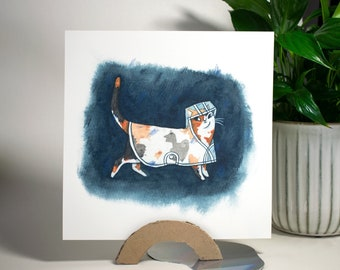 Calico cat wearing a raincoat   Whimsical square art print of original watercolor illustration of a cat walking in the rain, cute wall decor