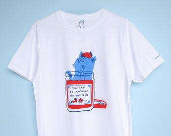 Cute strawberry jam cat t-shirt   Hand screen printed on white organic cotton tee with inspirational quote in red and blue for cat lovers