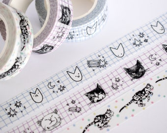 Set of 3 Cat Washi Tape   15mm x 10m Kawaii stationery with black and white illustration and colorful pastel dots, for planners, scrapbooks