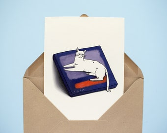 Greeting Cat Card   Folded Card with original illustration of a white cat sitting on an expensive painting, famous art card for artists