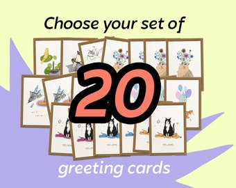 Set of 20 Greeting Cards for every occasion   Choose your own, whimsical cat illustration, happy birthday, thank you, flowers and plants