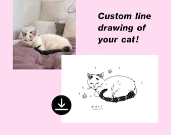 Custom line drawing of your cat   Downloadable pet portrait   Personalized custom illustration   Print on mug, canvas, poster, shirt, pillow