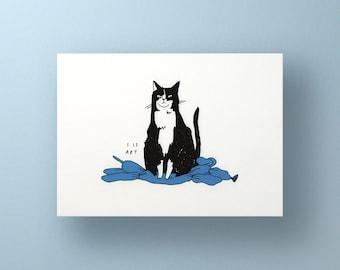 Art print of a cat sitting on balloon dog inspired by Koons   Animal Illustration, Tuxedo Cat, Balloon Animal, I is art, smirky house cat