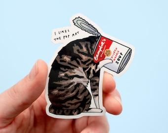 Pop Art Cat Sticker   White Vinyl Sticker, Cat Stickers, Water Bottle Sticker, Laptop Sticker, Tabby Cat, famous art parody, Campbell's soup