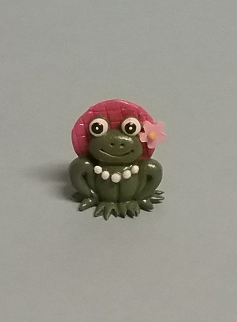 Hand Sculpted Tiny Girl Country Frog Miniature in Polymer Clay