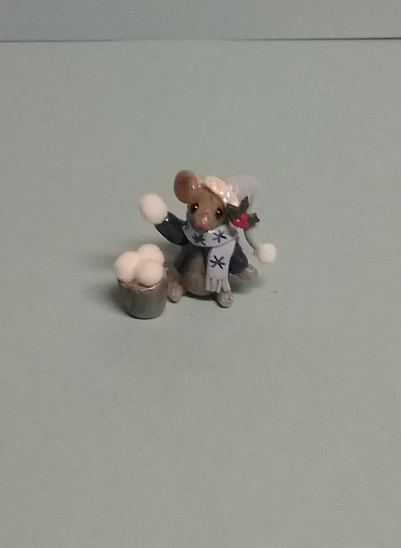 Hand Sculpted Winter Wonderland Mouse Throwing Snowballs Figurine in Polymer Clay
