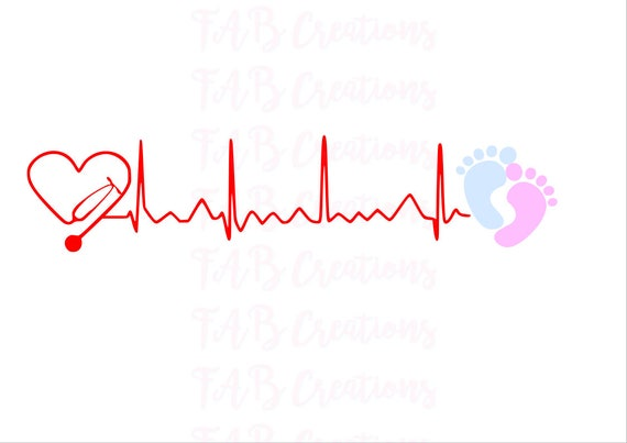 Stethoscope Heartbeat Baby Feet Svg Png Eps Dxf Etsy