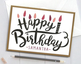 Personalized Birthday Card, Happy Birthday Card, Birthday Card, Birthday, Cards for Him, boyfriend, Handmade, Personalized, Pink