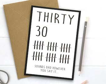 30th Birthday Card Gift Funny Cards Gifts
