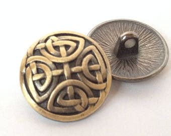 Lot 5 buttons pattern infinity Celtic knot, antique brass, 17mm