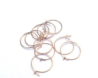 Supports 12mm fine wire hoop earrings gold plated brass, 5 pairs