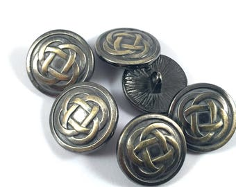 Lot 5 buttons pattern infinity Celtic knot, antique bronze, 17mm