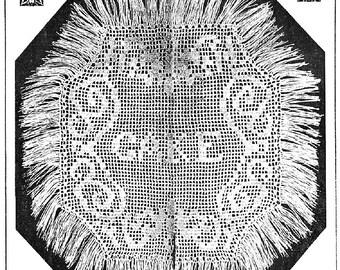 PDF Filet Crochet Pattern, Fringed CAKE  Doily