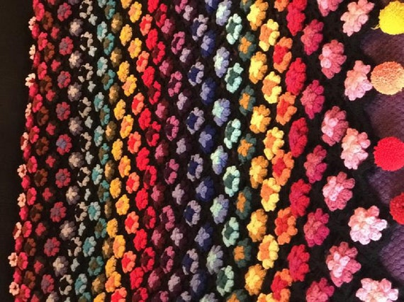 PDF Crochet Pattern Colour Wheel Puff Flower ThrowAfghan