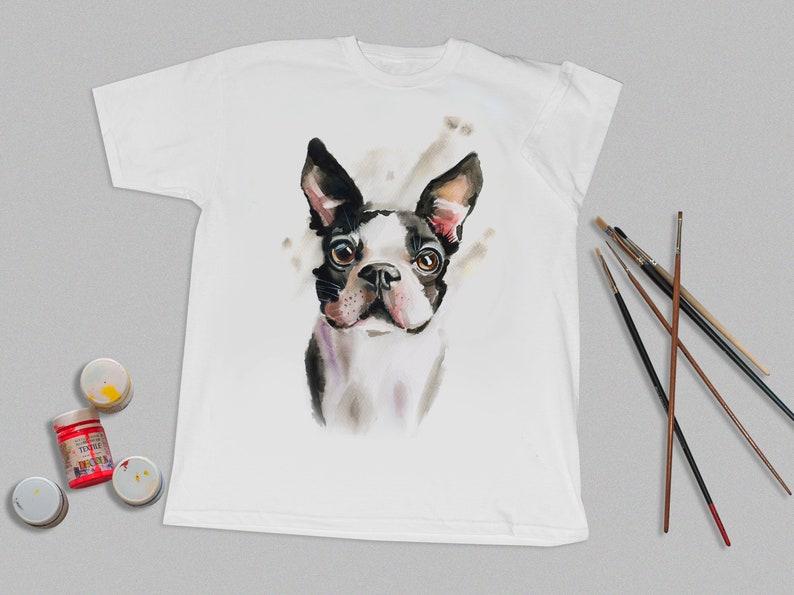 a329dddb549ea Handpainted T shirt, Dog art Tees, Puppy painting tee, Pet on T shirt, Made  to order Tshirt, Paint by hand shirt, Custom Tshirt
