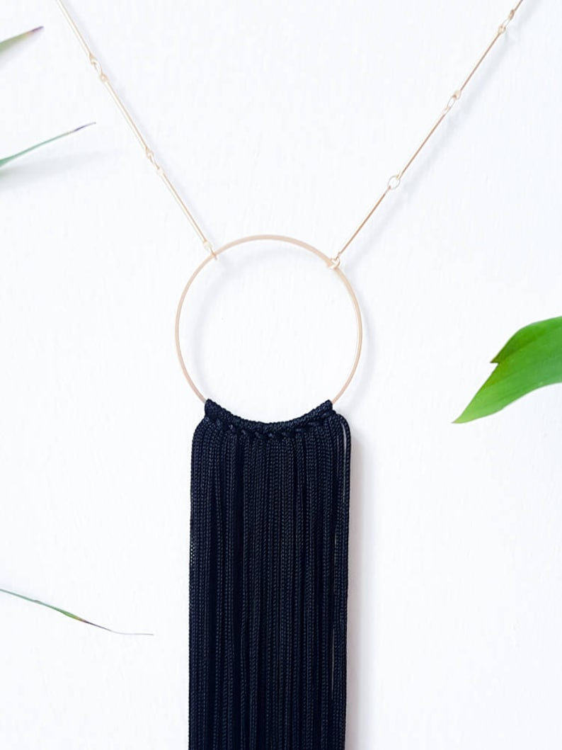 silk tassels /& fringe  Women/'s Fashion FREE SHIPPING  Tassel Hoop Necklace in Black  Gift for her  Handmade in Berlin  Gold chain