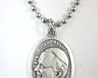Saint Catholic 925 Silver Charm Pendant Pope John Paul II Medal Charm Pendant John Paul II Patron of The World Youth Days