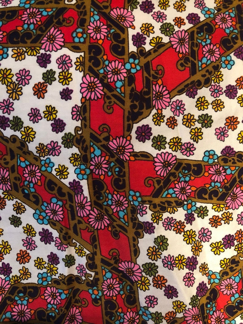 25/% OFF Vintage Mod Blouse 60/'s Blouse Vintage Floral Top Vintage 60/'s Smock Large Vintage Blouse Colorful Top Free Shipping