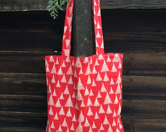 Christmas tree tote, Christmas tote bag, Christmas pattern tote bag, Christmas gift idea, Stocking filler, Christmas shopper, Cotton tote