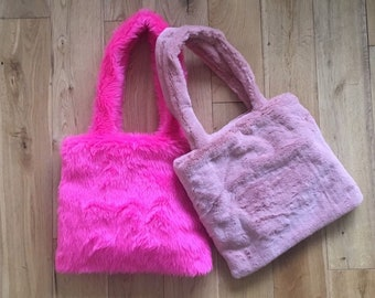 Pink faux fur bag Pink faux fur tote Pink fake fur bag Pink  02fb289da5fb0