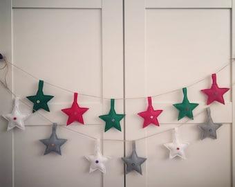 Felt stars garland, Felt snowflakes garland, Christmas garland, Christmas bunting, Felt Christmas decoration, Christmas ornament, Felt star
