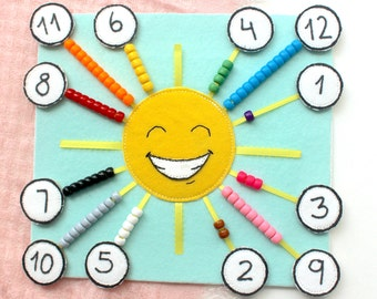 Happy Sun Counting And Color Sorting Quiet Page Count 1 10 12 Book Montessori Busy