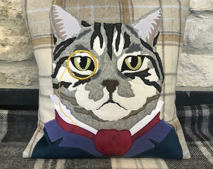 Featured listing image: bespoke cat cushion, cat cushion, cat portrait, pet portrait, pet cushion, tweed cushion